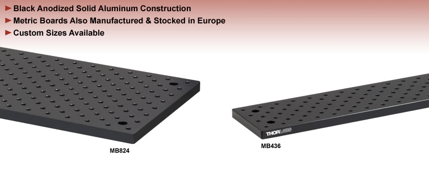 Solid Aluminum Optical Breadboards, Double Density Holes