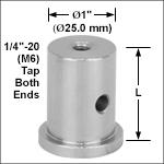 Ø1in (Ø25.0 mm) Pedestal Posts, 1/4in-20 (M6) Taps