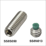 8-32 Stainless Steel Single-Ended, Double-Ended, and Nylon-Tipped Setscrews