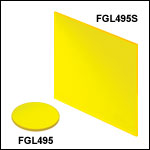 Unmounted 495 nm Longpass Colored Glass Filters