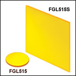 Unmounted 515 nm Longpass Colored Glass Filters