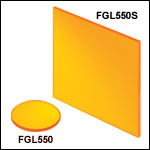 Unmounted 550 nm Longpass Colored Glass Filters