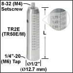 Ø1/2in (Ø12.7 mm) Graduated Stainless Steel Optical Posts