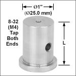 Ø1in (Ø25.0 mm) Pedestal Posts, 8-32 (M4) Taps