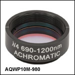 Ø1in Mounted Achromatic Quarter-Wave Plate, SM1-Threaded Mount