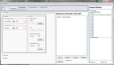 Screen Capture of the Elliptec Piezoelectric Resonant Motor Control Software GUI