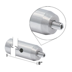 TR8 - Ø1/2in x 8in Stainless Steel Optical Post, 8-32 Stud, 1/4in-20 Tapped Hole