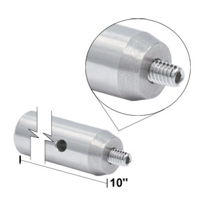 TR10 - Ø1/2in x 10in Stainless Steel Optical Post, 8-32 Stud, 1/4in-20 Tapped Hole