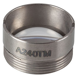 A240TM - f = 8.0 mm, NA = 0.50, Mounted Rochester Aspheric Lens, Uncoated