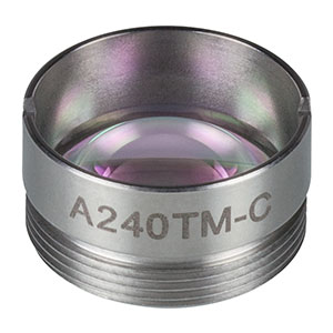 A240TM-C - f = 8.0 mm, NA = 0.5, Mounted Rochester Aspheric Lens, AR: 1050-1620 nm