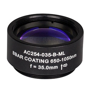 AC254-035-B-ML - f=35 mm, Ø1in Achromatic Doublet, SM1-Threaded Mount, ARC: 650-1050 nm