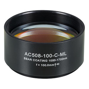 AC508-100-C-ML - f=100 mm, Ø2in Achromatic Doublet, SM2-Threaded Mount, ARC: 1050-1700 nm