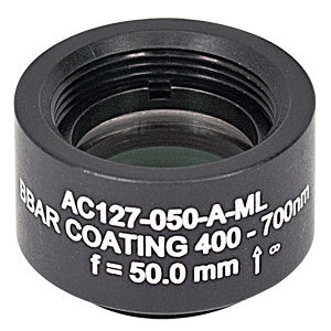 AC127-050-A-ML - f=50 mm, Ø1/2in Achromatic Doublet, SM05-Threaded Mount, ARC: 400-700 nm
