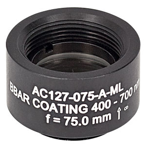 AC127-075-A-ML - f=75 mm, Ø1/2in Achromatic Doublet, SM05-Threaded Mount, ARC: 400-700 nm