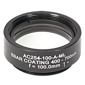 AC254-100-A-ML - f=100 mm, Ø1in Achromatic Doublet, SM1-Threaded Mount, ARC: 400-700 nm