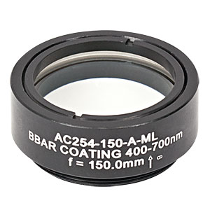 AC254-150-A-ML - f=150 mm, Ø1in Achromatic Doublet, SM1-Threaded Mount, ARC: 400-700 nm