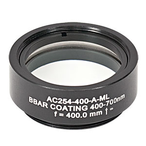 AC254-400-A-ML - f=400 mm, Ø1in Achromatic Doublet, SM1-Threaded Mount, ARC: 400-700 nm