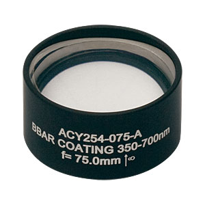 ACY254-075-A - f = 75.0 mm, Ø1in Cylindrical Achromat, AR Coating: 350 - 700 nm