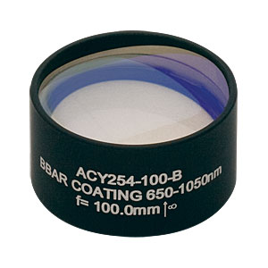 ACY254-100-B - f = 100.0 mm, Ø1in Cylindrical Achromat, AR Coating: 650 - 1050 nm