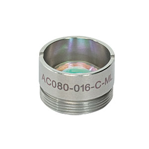 AC080-016-C-ML - f=16 mm, Ø8 mm Achromatic Doublet, M12x0.5 Threaded Mount, ARC: 1050-1620 nm