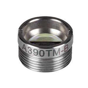 A390TM-B - f = 4.60 mm, NA = 0.53, Mounted Aspheric Lens, ARC: 650 - 1050 nm