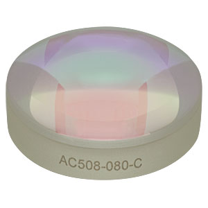 AC508-080-C - f = 80.0 mm, Ø2in Achromatic Doublet, ARC: 1050 - 1700 nm