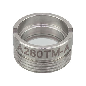 A280TM-A - f = 18.40 mm, NA = 0.15, Mounted Aspheric Lens, ARC: 350 - 700 nm