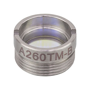 A260TM-B - f = 15.29 mm, NA = 0.16, Mounted Rochester Aspheric Lens, AR: 650 - 1050 nm