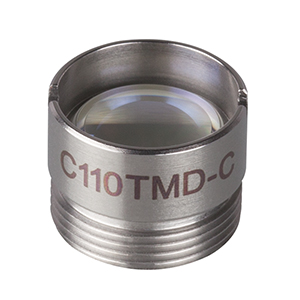 C110TMD-C - f = 6.24 mm, NA = 0.40, Mounted Geltech Aspheric Lens, AR: 1050-1700 nm