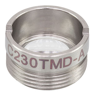 C230TMD-A - f = 4.51 mm, NA = 0.55, Mounted Geltech Aspheric Lens, AR: 350 - 700 nm