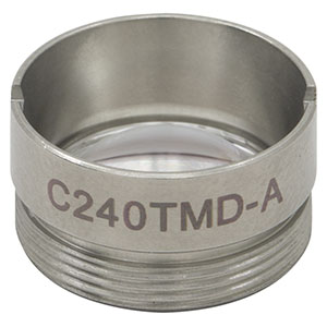 C240TMD-A - f = 8.00 mm, NA = 0.5, Mounted Geltech Aspheric Lens, AR: 350 - 700 nm