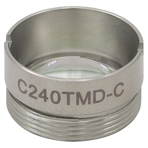 C240TMD-C - f = 8.00 mm, NA = 0.5, Mounted Aspheric Lens, ARC: 1050 - 1700 nm