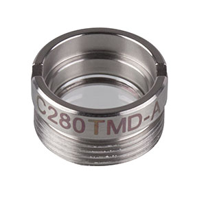 C280TMD-A - f = 18.40 mm, NA = 0.15, Mounted Geltech Aspheric Lens, AR: 350 - 700 nm