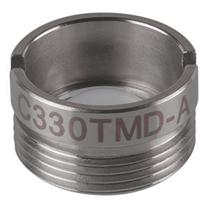 C330TMD-A - f = 3.1 mm, NA = 0.7 Mounted Geltech Aspheric Lens, AR: 350 - 700 nm