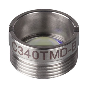 C340TMD-B - f = 4.03 mm, NA = 0.64, Mounted Aspheric Lens, ARC: 600 - 1050 nm