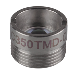 C350TMD-C - f = 4.50 mm, NA = 0.43, Mounted Geltech Aspheric Lens, AR: 1050-1700 nm