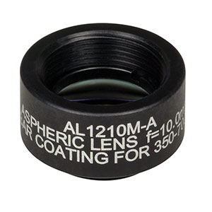 AL1210M-A - Ø12.5 mm S-LAH64 Mounted Aspheric Lens, f=10 mm, NA=0.55, ARC: 350-700 nm