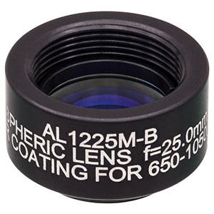 AL1225M-B - Ø12.5 mm N-BK7 Mounted Aspheric Lens, f=25 mm, NA=0.23, ARC: 650-1050 nm