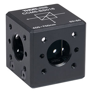 CCM5-BS016 - 16 mm Cage Cube-Mounted Non-Polarizing Beamsplitter, 400 - 700 nm, 8-32 Tap