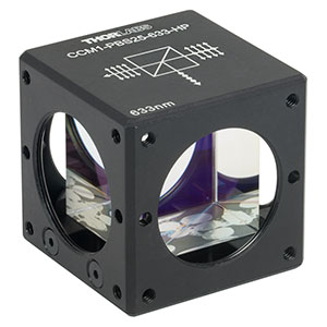 CCM1-PBS25-633-HP - 30 mm Cage-Cube-Mounted, High-Power, Polarizing Beamsplitter Cube, 633 nm, 8-32 Tap