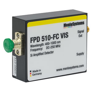 FPD510-FC-VIS - Si Fixed Gain, High Sensitivity PIN Amplified Detector, 400 to 1000 nm, DC - 250 MHz