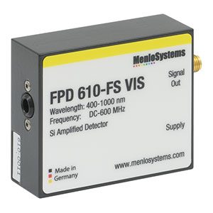 FPD610-FS-VIS - Si Fixed Gain, High Sensitivity PIN Detector, 400 - 1000 nm, 600 MHz BW, 0.13 mm<sup>2</sup>, M4 Tap