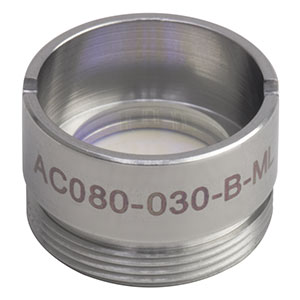 AC080-030-B-ML - f=30 mm, Ø8 mm Achromatic Doublet, M12x0.5 Threaded Mount, ARC: 650-1050