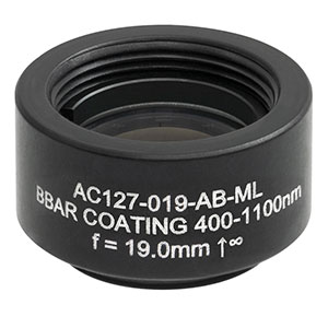 AC127-019-AB-ML - f = 19.0 mm, Ø1/2in Achromatic Doublet, SM05-Threaded Mount, ARC: 400 - 1100 nm