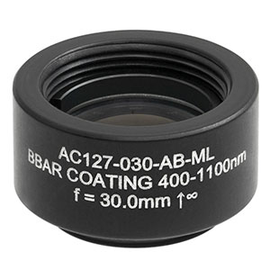AC127-030-AB-ML - f = 30.0 mm, Ø1/2in Achromatic Doublet, SM05-Threaded Mount, ARC: 400 - 1100 nm