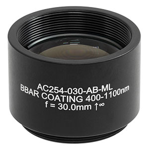 AC254-030-AB-ML - f = 30.0 mm, Ø1in Achromatic Doublet, SM1-Threaded Mount, ARC: 400 - 1100 nm