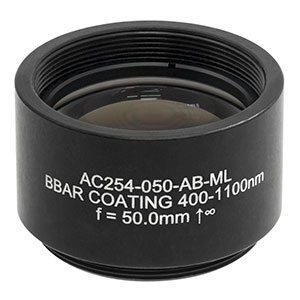 AC254-050-AB-ML - f = 50.0 mm, Ø1in Achromatic Doublet, SM1-Threaded Mount, ARC: 400 - 1100 nm