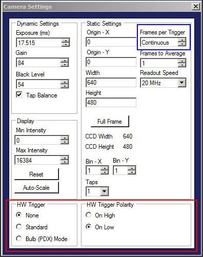 Camera Triggering in ThorCam Software