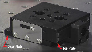The barrel clamp is attached to the base plate, which isolates the mounted components from vibrations transmitted by the manual or motorized adjuster or actuator.