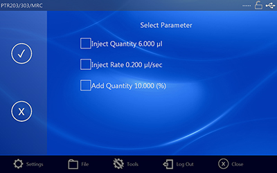 Injection Parameter Screen